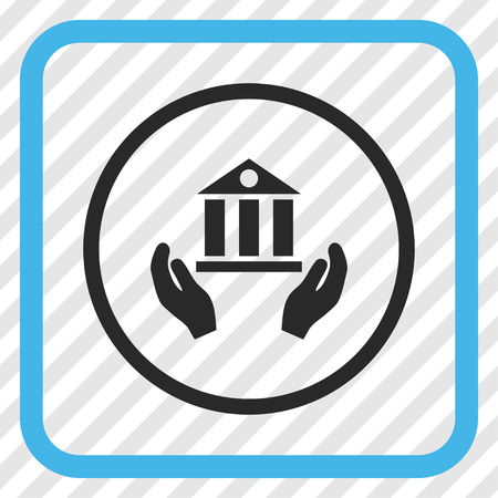 diagonally: Bank Service blue and gray vector icon. Image style is a flat icon symbol inside a rounded square frame on a transparent diagonally hatched background.