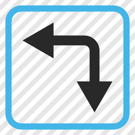 bifurcation: Bifurcation Arrow Left Down blue and gray vector icon. Image style is a flat iconic symbol in a rounded square frame on a transparent diagonally hatched background.