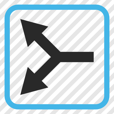 bifurcation: Bifurcation Arrow Left blue and gray vector icon. Image style is a flat pictogram symbol in a rounded square frame on a transparent diagonally hatched background. Illustration