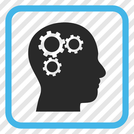 gear symbol: Brain Gears blue and gray vector icon. Image style is a flat icon symbol inside a rounded square frame on a transparent diagonally hatched background. Illustration