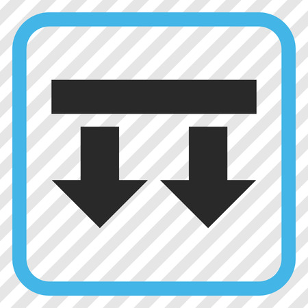bring: Bring Down blue and gray vector icon. Image style is a flat iconic symbol inside a rounded square frame on a transparent diagonally hatched background.