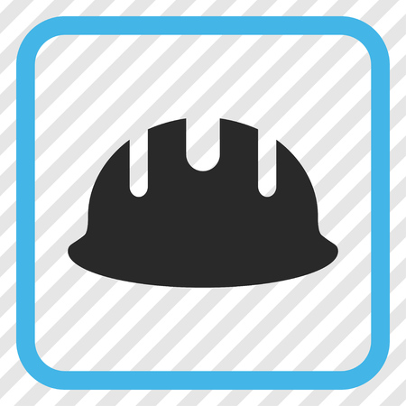 hardhat: Builder Hardhat blue and gray vector icon. Image style is a flat icon symbol inside a rounded square frame on a transparent diagonally hatched background.