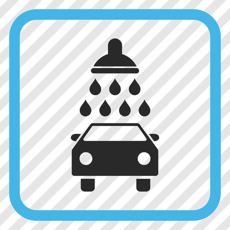 antiseptic: Car Shower blue and gray vector icon. Image style is a flat iconic symbol in a rounded square frame on a transparent diagonally hatched background.