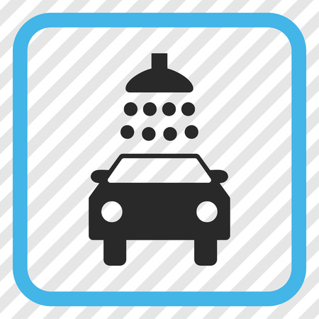 Car Shower blue and gray vector icon. Image style is a flat pictograph symbol inside a rounded square frame on a transparent diagonally hatched background. Illustration