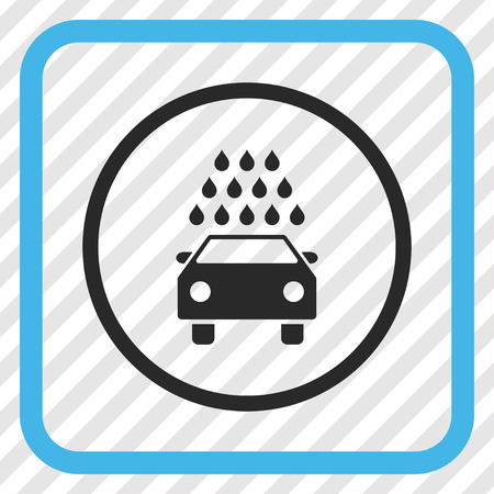 antiseptic: Car Wash blue and gray vector icon. Image style is a flat iconic symbol inside a rounded square frame on a transparent diagonally hatched background. Illustration