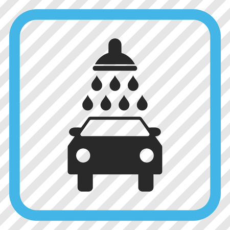 sterilize: Car Wash blue and gray vector icon. Image style is a flat pictogram symbol inside a rounded square frame on a transparent diagonally hatched background.