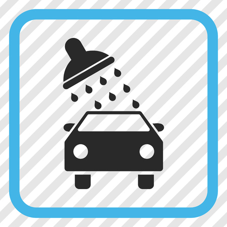 sanitize: Car Wash blue and gray vector icon. Image style is a flat icon symbol in a rounded square frame on a transparent diagonally hatched background.