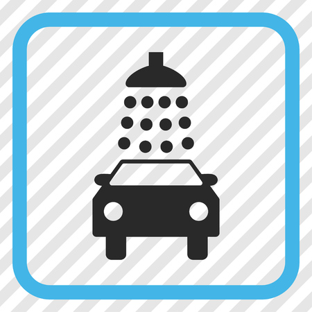 antiseptic: Car Wash blue and gray vector icon. Image style is a flat icon symbol inside a rounded square frame on a transparent diagonally hatched background.