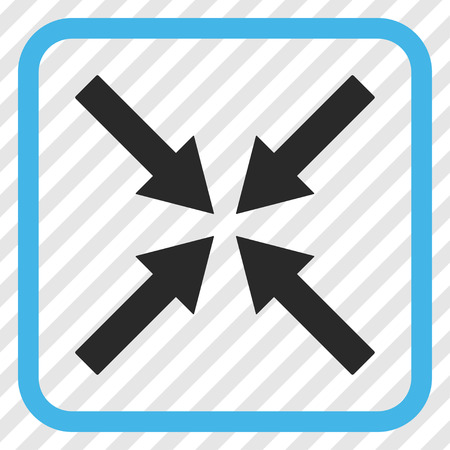 Center Arrows blue and gray vector icon. Image style is a flat icon symbol in a rounded square frame on a transparent diagonally hatched background. Illustration