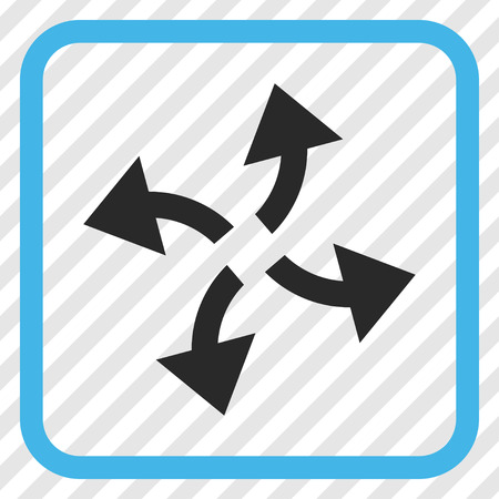 Centrifugal Arrows blue and gray vector icon. Image style is a flat pictogram symbol in a rounded square frame on a transparent diagonally hatched background.