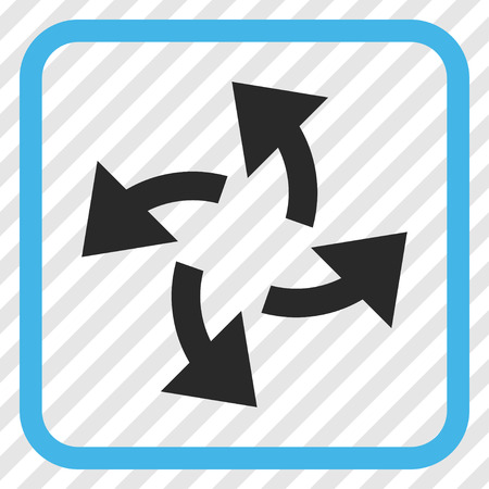 Centrifugal Arrows blue and gray vector icon. Image style is a flat pictograph symbol in a rounded square frame on a transparent diagonally hatched background.