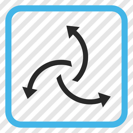 Centrifugal Arrows blue and gray vector icon. Image style is a flat pictograph symbol inside a rounded square frame on a transparent diagonally hatched background.
