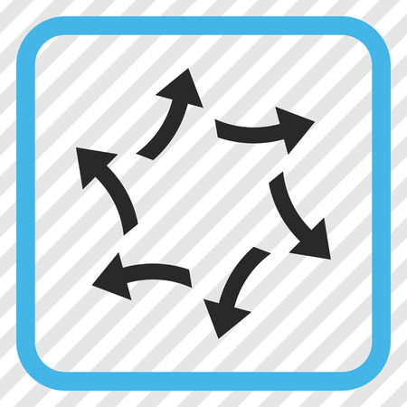 Centrifugal Arrows blue and gray vector icon. Image style is a flat icon symbol inside a rounded square frame on a transparent diagonally hatched background.