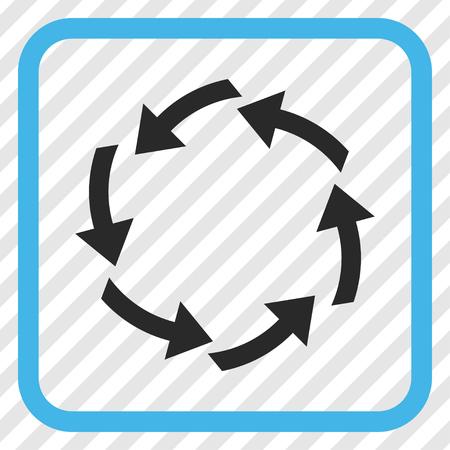 cíclico: azul y la circulación del vector del icono gris. estilo de la imagen es un símbolo pictograma plana dentro de un marco cuadrado redondeado en un fondo transparente en diagonal rayada.