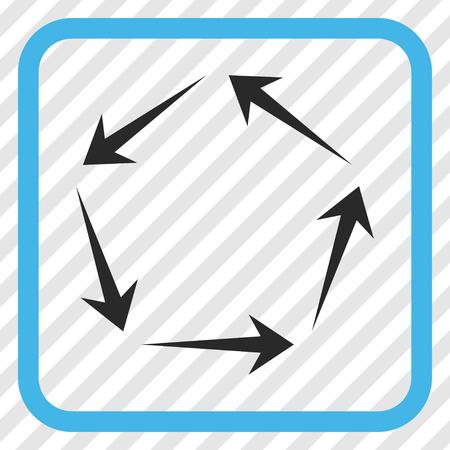 cíclico: Circulación azul y gris icono de vector. El estilo de la imagen es un símbolo plano del pictograma en un marco cuadrado redondeado en un fondo diagonalmente tramado transparente.