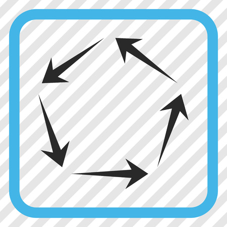 circling: Circulation blue and gray vector icon. Image style is a flat pictogram symbol in a rounded square frame on a transparent diagonally hatched background.