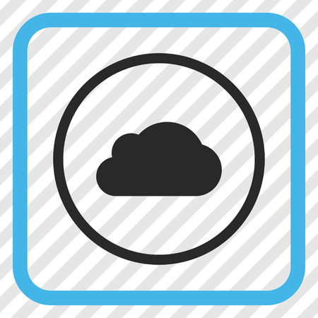 saas: Cloud blue and gray vector icon. Image style is a flat iconic symbol inside a rounded square frame on a transparent diagonally hatched background.