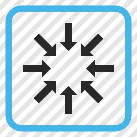 Collapse Arrows blue and gray vector icon. Image style is a flat pictograph symbol inside a rounded square frame on a transparent diagonally hatched background. Illustration