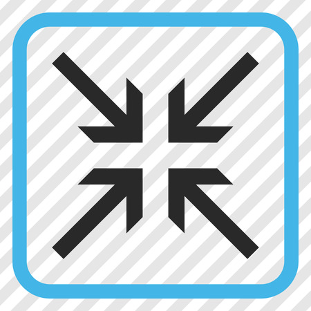 collide: Collide Arrows blue and gray vector icon. Image style is a flat pictogram symbol in a rounded square frame on a transparent diagonally hatched background.