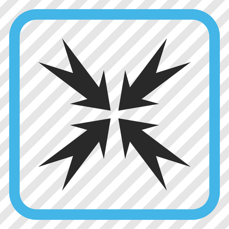 Compression Arrows blue and gray vector icon. Image style is a flat pictogram symbol in a rounded square frame on a transparent diagonally hatched background.