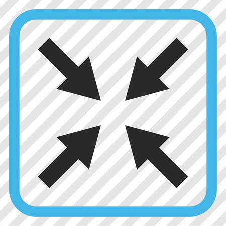 collide: Compress Arrows blue and gray vector icon. Image style is a flat icon symbol inside a rounded square frame on a transparent diagonally hatched background. Illustration