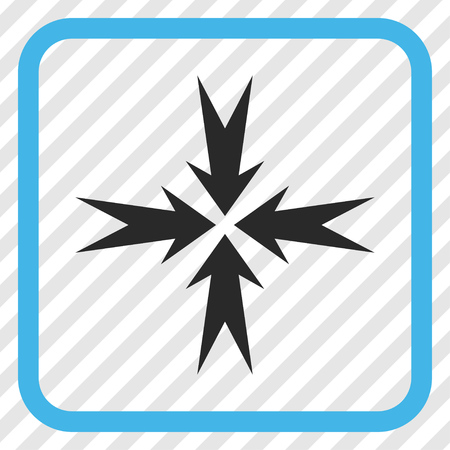 Compression Arrows blue and gray vector icon. Image style is a flat pictogram symbol inside a rounded square frame on a transparent diagonally hatched background. Illustration