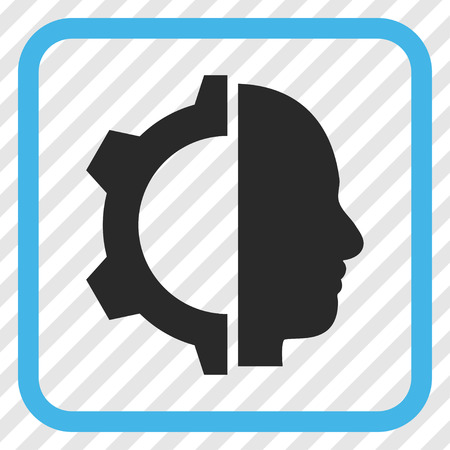 robo: Cyborg Gear blue and gray vector icon. Image style is a flat pictogram symbol inside a rounded square frame on a transparent diagonally hatched background. Illustration