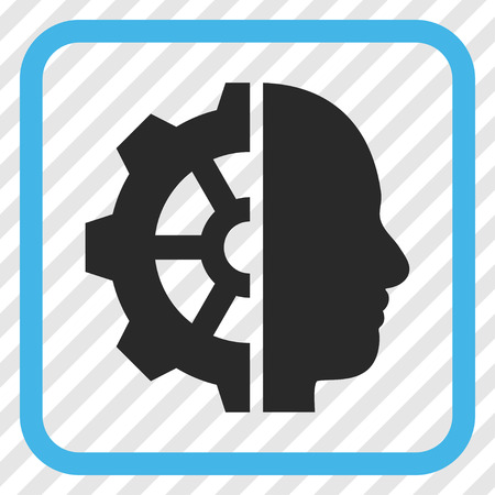 invent clever: Cyborg Gear blue and gray vector icon. Image style is a flat icon symbol inside a rounded square frame on a transparent diagonally hatched background.