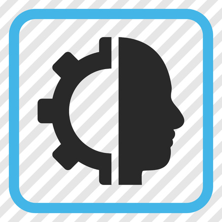 robo: Cyborg Gear blue and gray vector icon. Image style is a flat pictogram symbol in a rounded square frame on a transparent diagonally hatched background. Illustration