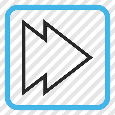 redirect: Direction Right blue and gray vector icon. Image style is a flat icon symbol inside a rounded square frame on a transparent diagonally hatched background.
