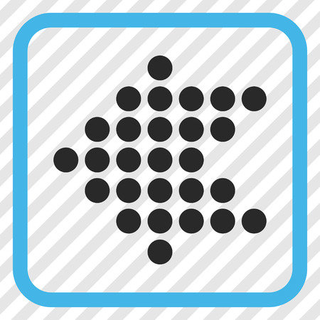frame less: Dotted Arrow Left blue and gray vector icon. Image style is a flat icon symbol in a rounded square frame on a transparent diagonally hatched background.