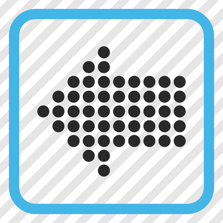 Dotted Arrow Left blue and gray vector icon. Image style is a flat pictogram symbol in a rounded square frame on a transparent diagonally hatched background.