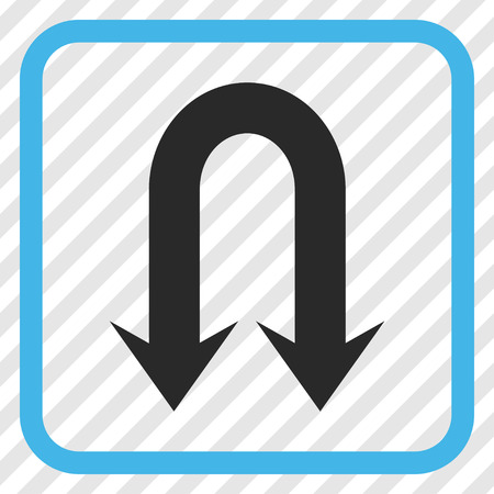 Double Back Arrow blue and gray vector icon. Image style is a flat iconic symbol in a rounded square frame on a transparent diagonally hatched background.