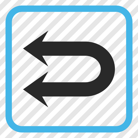 Double Left Arrow blue and gray vector icon. Image style is a flat iconic symbol inside a rounded square frame on a transparent diagonally hatched background. Illustration