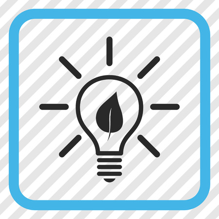 Eco Light Bulb blue and gray vector icon. Image style is a flat pictograph symbol in a rounded square frame on a transparent diagonally hatched background.