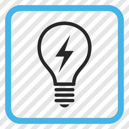 electric bulb: Electric Bulb blue and gray vector icon. Image style is a flat pictogram symbol in a rounded square frame on a transparent diagonally hatched background.