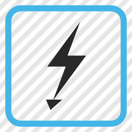 Electric Strike blue and gray vector icon. Image style is a flat pictogram symbol in a rounded square frame on a transparent diagonally hatched background. Illustration