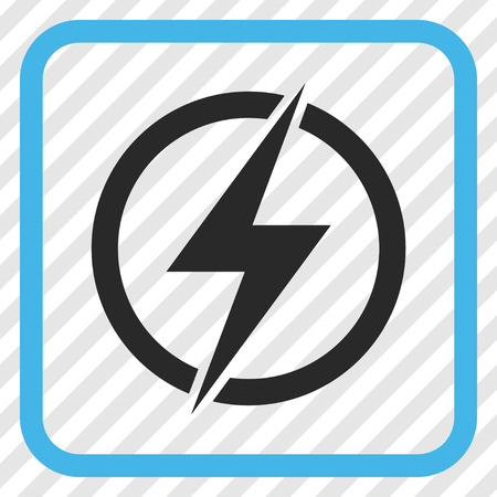 Electricity blue and gray vector icon. Image style is a flat icon symbol inside a rounded square frame on a transparent diagonally hatched background.