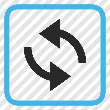 Exchange Arrows blue and gray vector icon. Image style is a flat icon symbol inside a rounded square frame on a transparent diagonally hatched background.