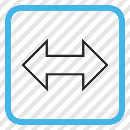 Exchange Horizontal blue and gray vector icon. Image style is a flat icon symbol inside a rounded square frame on a transparent diagonally hatched background.