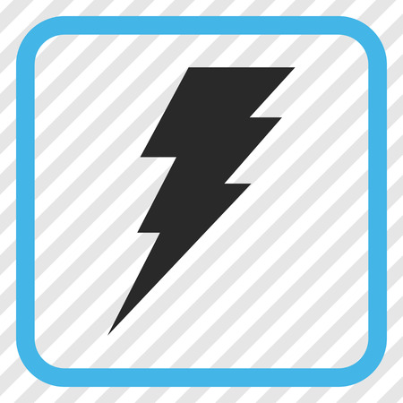 execute: Execute blue and gray vector icon. Image style is a flat pictogram symbol inside a rounded square frame on a transparent diagonally hatched background.