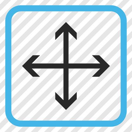 Expandir Icono de vector de flechas azul y gris. El estilo de la imagen es un símbolo plano del icono en un marco cuadrado redondeado en un fondo diagonalmente tramado transparente. Vectores