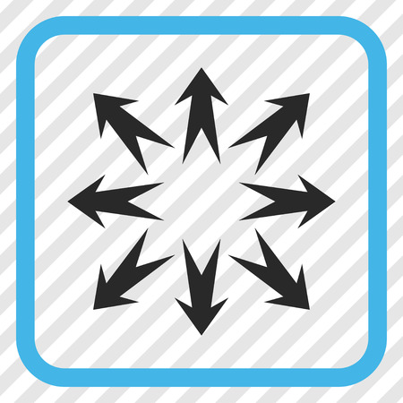Expand Arrows blue and gray vector icon. Image style is a flat icon symbol inside a rounded square frame on a transparent diagonally hatched background. Illustration