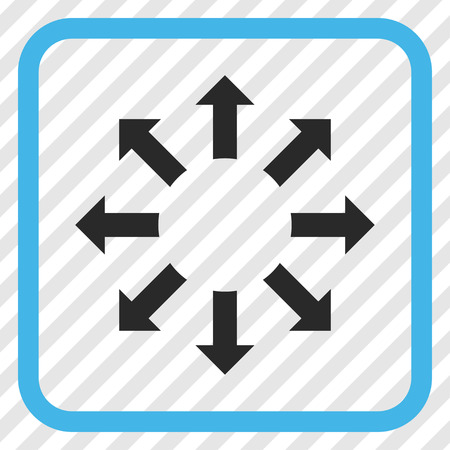 Expand Arrows blue and gray vector icon. Image style is a flat pictogram symbol in a rounded square frame on a transparent diagonally hatched background. Illustration