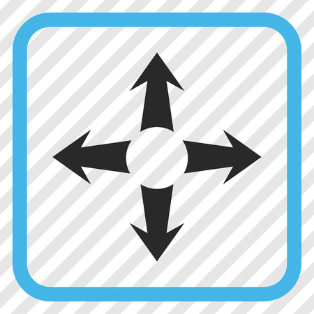 Expand Arrows blue and gray vector icon. Image style is a flat pictograph symbol in a rounded square frame on a transparent diagonally hatched background. Illustration