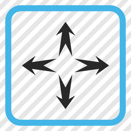 bifurcation: Expand Arrows blue and gray vector icon. Image style is a flat icon symbol in a rounded square frame on a transparent diagonally hatched background. Illustration