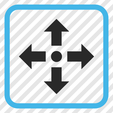 Expand Arrows blue and gray vector icon. Image style is a flat pictogram symbol inside a rounded square frame on a transparent diagonally hatched background. Illustration