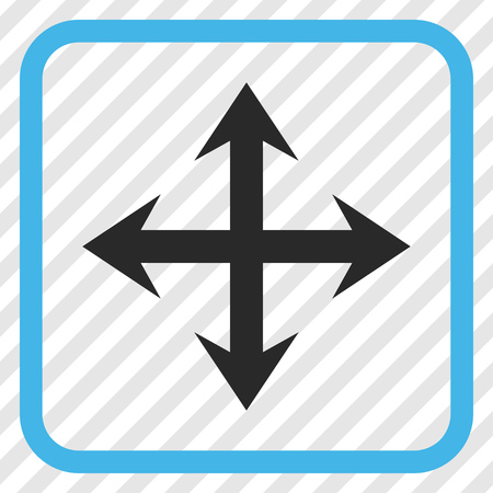upside: Expand Arrows blue and gray vector icon. Image style is a flat iconic symbol inside a rounded square frame on a transparent diagonally hatched background.