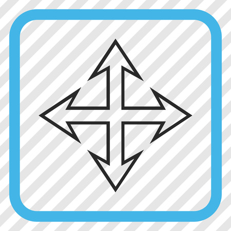 Expand Arrows blue and gray vector icon. Image style is a flat iconic symbol in a rounded square frame on a transparent diagonally hatched background.