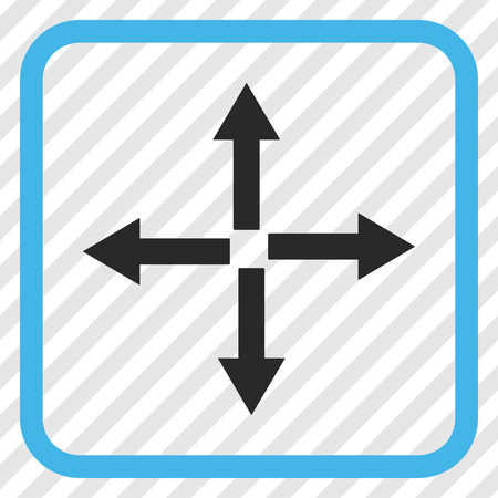 upside: Expand Arrows blue and gray vector icon. Image style is a flat pictograph symbol in a rounded square frame on a transparent diagonally hatched background. Illustration